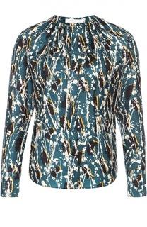 Шелковая блуза с круглым вырезом и ярким принтом HUGO