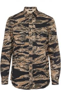Хлопковая рубашка с камуфляжным принтом Diesel