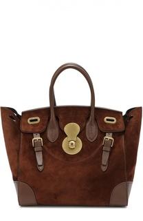 Замшевая сумка Soft Ricky 33 с отделкой из кожи Ralph Lauren
