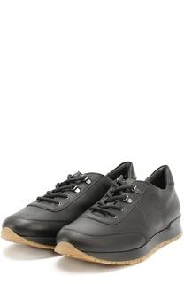 Кожаные кроссовки с принтом A. Testoni