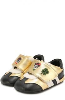 Кожаные пинетки с застежкой велькро Dolce & Gabbana