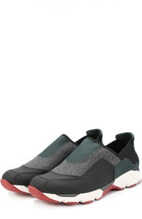Текстильные кроссовки с вставкой из войлока Marni