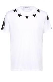Хлопковая футболка с контрастными нашивками Givenchy