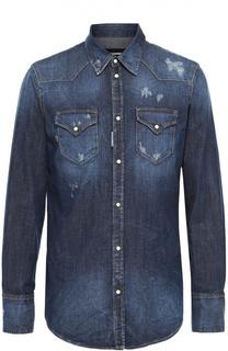 Джинсовая рубашка с потертостями Dsquared2