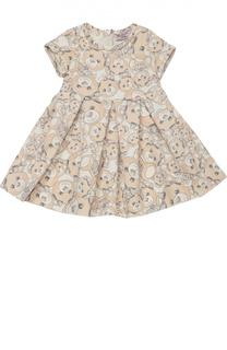 Платье джерси с принтом и круглым вырезом Monnalisa