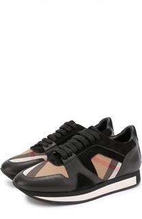 Комбинированные кроссовки с принтом House Check Burberry