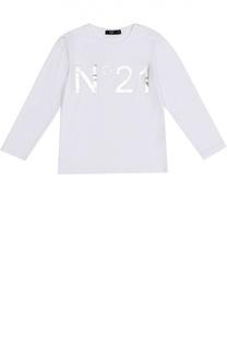Хлопковый лонгслив с логотипом бренда No. 21