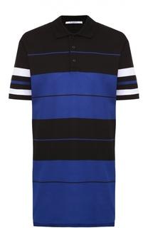 Удлиненное хлопковое поло с контрастной отделкой Givenchy