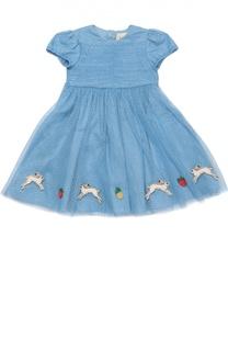 Платье с пышной юбкой с аппликациями Gucci