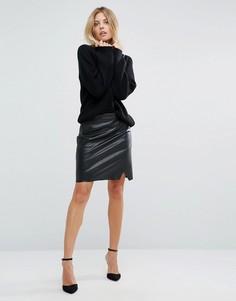 Черная юбка из искусственной кожи Boss Orange - Черный