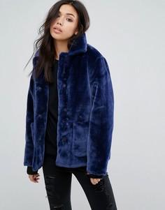 Бархатная куртка с большими карманами First & I - Темно-синий