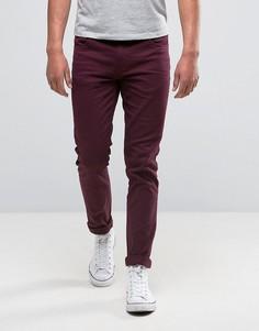 Farah Skinny Jeans In Bordeaux Stretch Twill - Красный