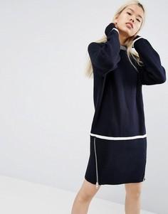 Трикотажное платье на молнии ASOS WHITE - Темно-синий