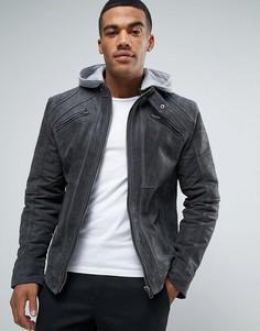 Barneys Premium Suede Biker With Jersey Hoody Jacket - Серый Barneys Originals