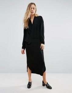 Ganni Doherty Cowl Front Midi Dress - Черный
