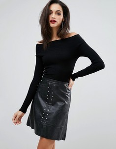 Платье с юбкой из искусственной кожи и эффектом 2 в 1 Lipsy - Черный