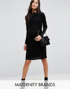 Приталенное платье с высокой горловиной и отделкой Mamalicious - Черный Mama.Licious