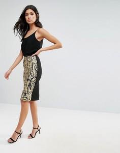 Жаккардовая юбка с принтом Pussycat London - Золотой