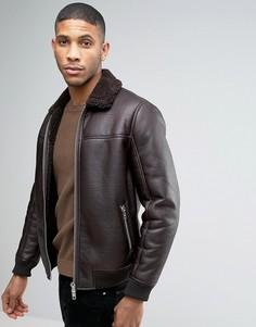 Куртка-пилот из искусственной кожи с воротником борг Barneys - Коричневый Barneys Originals