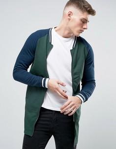 Удлиненная трикотажная куртка на молнии Brave Soul - Зеленый
