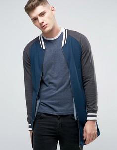 Удлиненная трикотажная куртка на молнии Brave Soul - Темно-синий