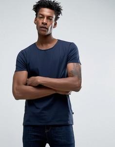 Темно-синяя стретчевая футболка узкого кроя с круглым вырезом Scotch & Soda - Темно-синий