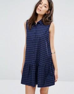 Клетчатое платье на пуговицах с баской по краю Unique 21 - Синий