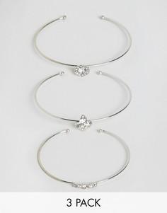 Комплект из 3 браслетов DesignB - Серебряный