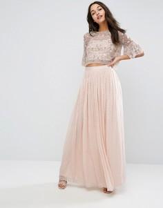 Шифоновая юбка макси с отделкой металлик Needle & Thread - Розовый