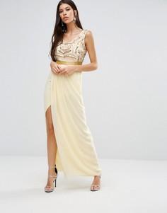 Платье макси с разрезом Virgos Lounge Marigold - Розовый