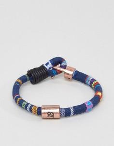 Синий плетеный браслет с ацтекским узором Icon Brand - Синий
