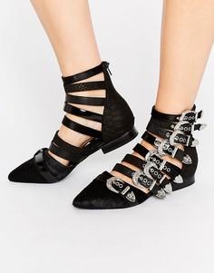 Jeffrey Campbell Psych Multi Buckle Flat Ankle Boots - Черный
