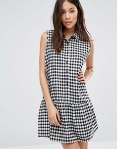 Клетчатое платье на пуговицах с баской по краю Unique 21 - Белый