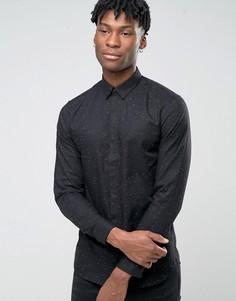 Рубашка узкого кроя в крапинку Jack & Jones Premium - Черный