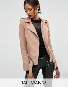 Замшевая куртка-пилот с ремнем по нижнему краю Y.A.S Tall Gwen - Розовый
