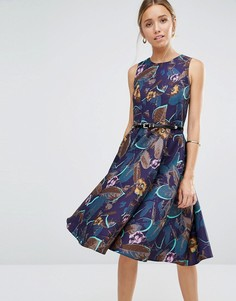 Фактурное платье с расклешенной юбкой и цветочным принтом Closet - Мульти