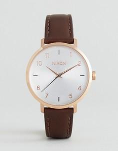 Часы цвета розового золота с коричневым кожаным ремешком Nixon A1091-2369 - Коричневый