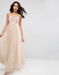 Платье макси из тюля с вышивкой Needle & Thread Prarie - Розовый