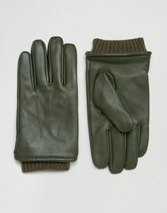 Кожаные перчатки цвета хаки с манжетами Barneys - Зеленый Barneys Originals