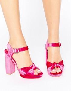 Сандалии на платформе с узелком Truffle - Розовый