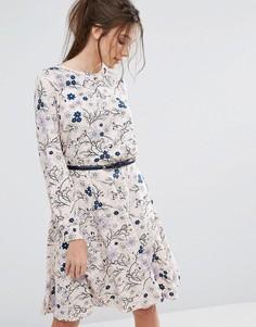 Платье с длинными рукавами и поясом Closet - Мульти