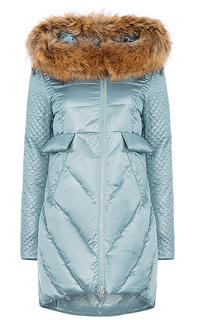 Утепленное пальто с отделкой мехом енота и трикотажем Malinardi