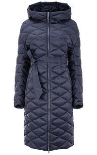 Утепленное стеганое пальто с поясом Clasna