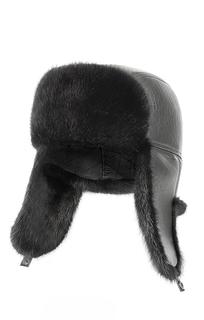 кожаная шапка-ушанка с мехом норки Polina Furs