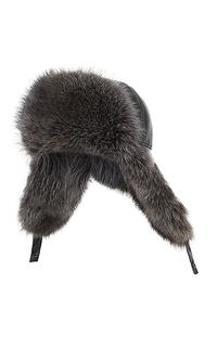 мужская шапка-ушанка с мехом енота Polina Furs