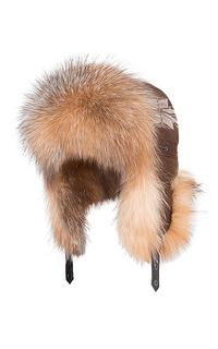 женская шапка-ушанка с мехом лисы Polina Furs
