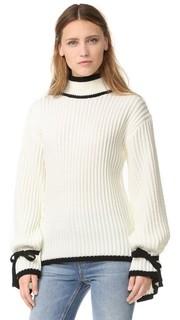 Трикотажный свитер с завязками на манжетах English Factory