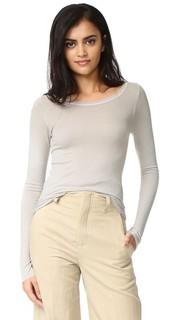 Рубчатая футболка с округлым вырезом и длинными рукавами Enza Costa