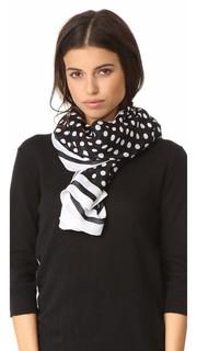 Продолговатый полосатый шарф с принтом в горошек Kate Spade New York