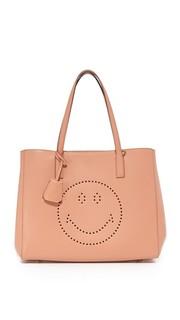 Объемная сумка-шоппер Ebury с короткими ручками и с изображением смайла Anya Hindmarch